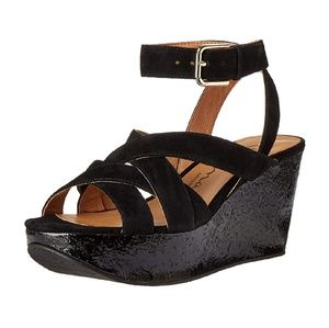 Nina Vision Women's Black Wedge Sandals
